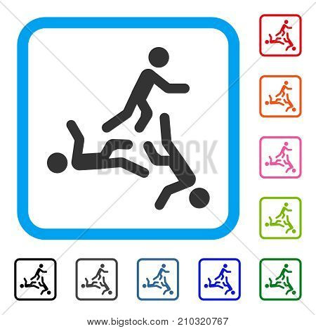 Moving Men icon. Flat gray iconic symbol in a light blue rounded frame. Black, gray, green, blue, red, orange color additional versions of Moving Men vector. Designed for web and app UI.