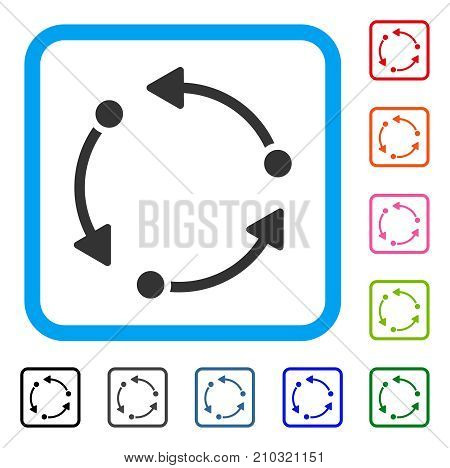 Rotate icon. Flat grey iconic symbol inside a light blue rounded rectangle. Black, gray, green, blue, red, orange color variants of Rotate vector. Designed for web and application user interface.