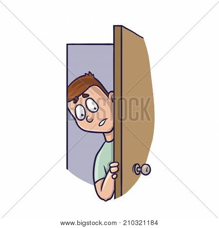 Young man peeking in the slightly open door. Agoraphobia concept. Vector Illustration, isolated on white background.