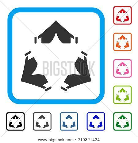 Tent Camp icon. Flat gray pictogram symbol inside a light blue rounded rectangular frame. Black, gray, green, blue, red, orange color variants of Tent Camp vector. poster