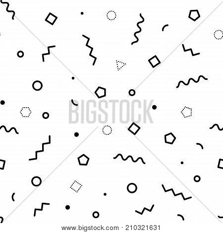 Black and white geometric memphis pattern with wavy lines, triangles, circles, zig zags. 80s and 90s graphic design style. Vector seamless backgrounds.