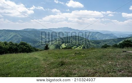 mountain panorama with only hills and no villages from Hnilicka Kycera hill in Mala Fatra mountains in Slovakia