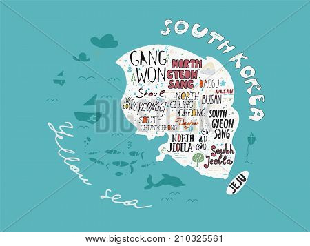 Hand-drawn map of Korea vector with names of areas illustration design poster. Doodle style elements and lettering signs for travel to Korea concept