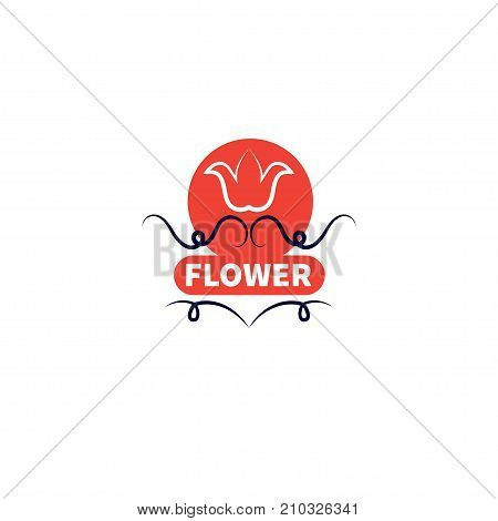 Flower with swirls carved on white background. Banner for flower shop. - Stock vector