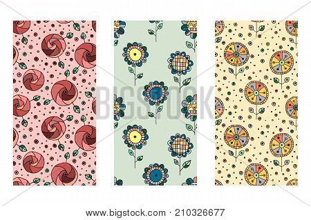 Set Of Seamless Vector Hand Drawn Doodle Childlike Floral Pattern. Background With Childish Flowers,
