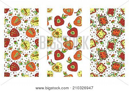 Set Of Seamless Vector Hand Drawn Childish Patterns With Fruits. Cute Childlike Berry, Cherry, Straw
