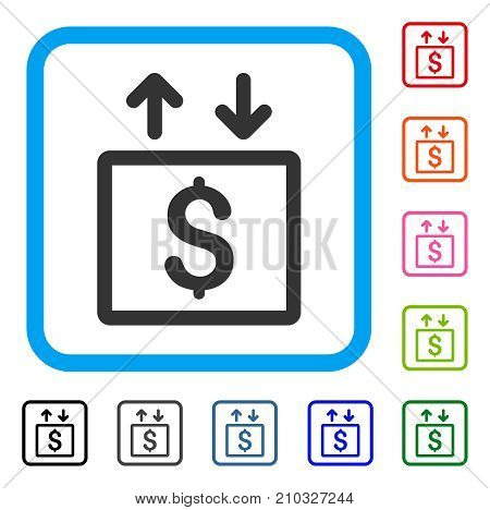 Money Elevator icon. Flat grey pictogram symbol in a light blue rounded frame. Black, gray, green, blue, red, orange color versions of Money Elevator vector. Designed for web and app UI.
