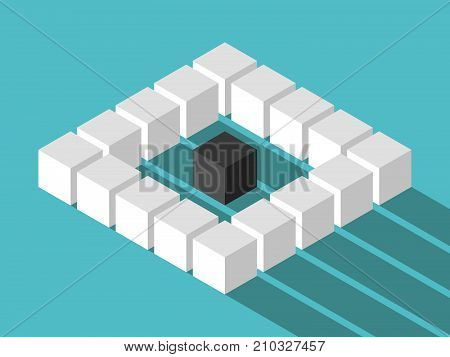 Isometric unique black lonely cube in the middle of many white ones on turquoise blue background with long shadow. Loneliness, individuality, uniqueness, difference and society concept. Flat design