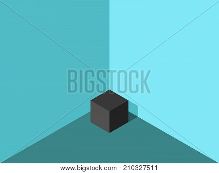 Isometric black lonely cube in corner of turquoise blue room. Loneliness concept. Flat design. Vector illustration, no transparency, no gradients