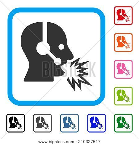 Operator Shout icon. Flat grey pictogram symbol in a light blue rounded rectangular frame. Black, gray, green, blue, red, orange color variants of Operator Shout vector.