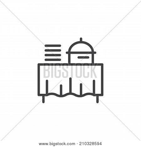 Setout line icon, outline vector sign, linear style pictogram isolated on white. Buffet self service restaurant symbol, logo illustration. Editable stroke