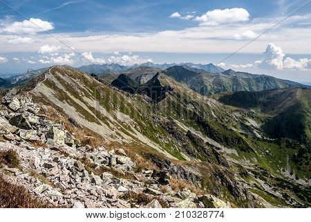 spectacular panorama of Tatras mountain range from Banikov peak in Rohace mountain group in Slovakia during nice day with blue sky and clouds