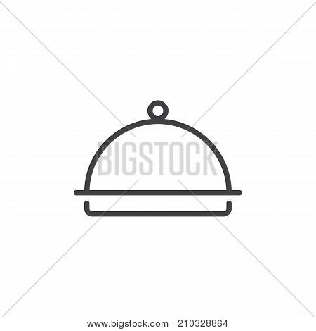 Hotel restaurant food tray line icon, outline vector sign, linear style pictogram isolated on white. Dome Food Cover Symbol, logo illustration. Editable stroke