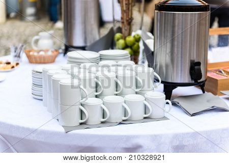 Coffee, Cups On Catering Table At Conference Or Wedding Banquet.