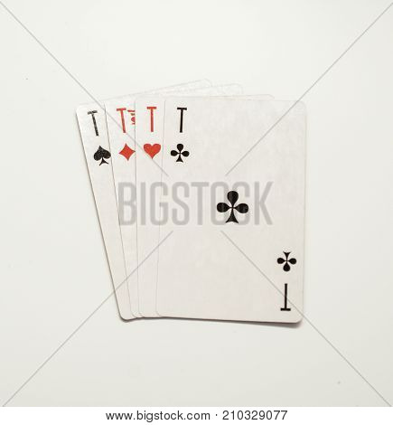 playing cards isolated on white background four aces