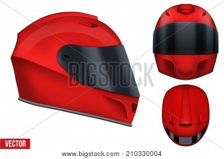 Set of Red motor racing helmets with closed glass visor. For car and motorcycle sport. Front and side and top view. Vector Illustration isolated on white background.