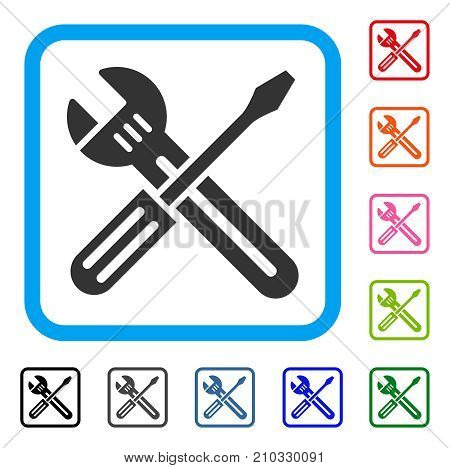 Spanner And Screwdriver icon. Flat gray pictogram symbol in a light blue rounded rectangle. Black, gray, green, blue, red, orange color additional versions of Spanner And Screwdriver vector.