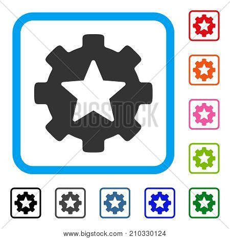 Star Favorites Options Gear icon. Flat gray pictogram symbol inside a light blue rounded frame. Black, gray, green, blue, red, orange color additional versions of Star Favorites Options Gear vector.