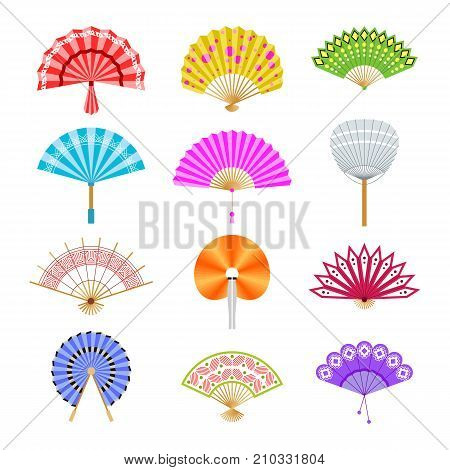 Hand paper fan vector icons. Chinese or japanese beautiful fans isolated. Colorful japanese souvenir fans illustration. Flat style.