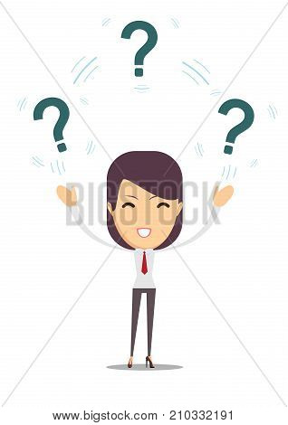 woman with question. Stock flat vector illustration.