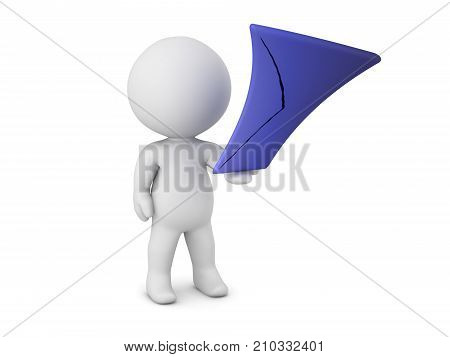 3D character holding a stretched mail envelope. Isolated on white background.