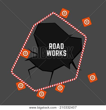 Road works image. Editable vector illustration with roadwork top view background. Automotive collection.
