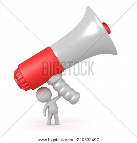 3D character holding up a huge megaphone. Isolated on white background.