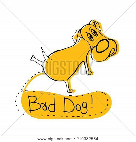 Hand drawn funny peeing dog. Unique vector illustration in modern style. Beautiful image in black and yellow colours isolated on white background. Bad doggy poster.