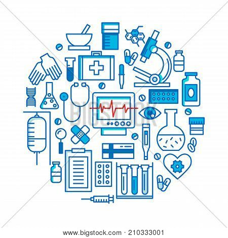 Medical icons vector set. Health care sign collection in circle shape. Medicine equipment silhouette illustration. Ambulance symbols