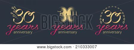30 years anniversary vector icon logo set. Graphic design element with lettering and red ribbon for celebration of 30th anniversary