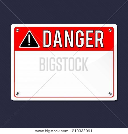 Danger Sign, vector. Flat Sign, vector. Print exclamation mark. Poster. Announcement about the dangers. Plate on the bolts.
