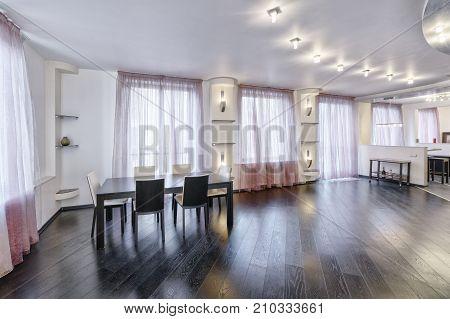 Russia, Moscow region - Interior design living room in luxury new apartment.