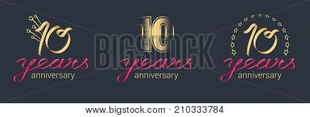 10 years anniversary vector icon logo set. Graphic design element with lettering and red ribbon for celebration of 10th anniversary