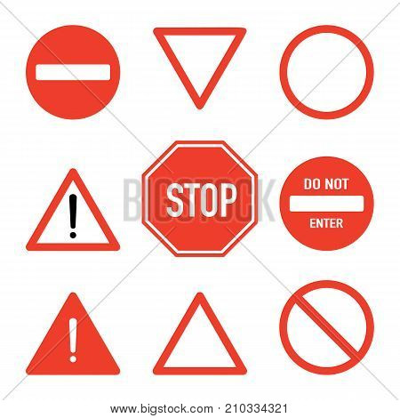 Set of road stop signs flat vector illustration isolated on white background. Traffic safety sign concept different shapes and forms. Stop sign set front view. Traffic warning signs.