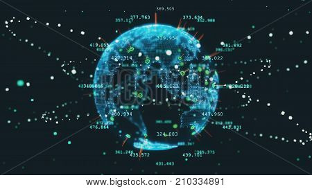 Rotating planet earth future 3d illustration technology business concept