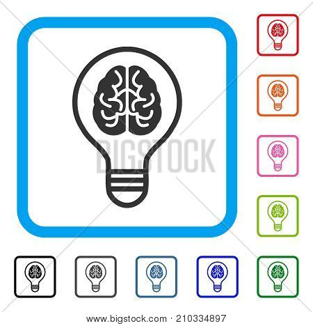 Brain Idea Bulb icon. Flat gray pictogram symbol in a light blue rounded square. Black, gray, green, blue, red, orange color variants of Brain Idea Bulb vector.