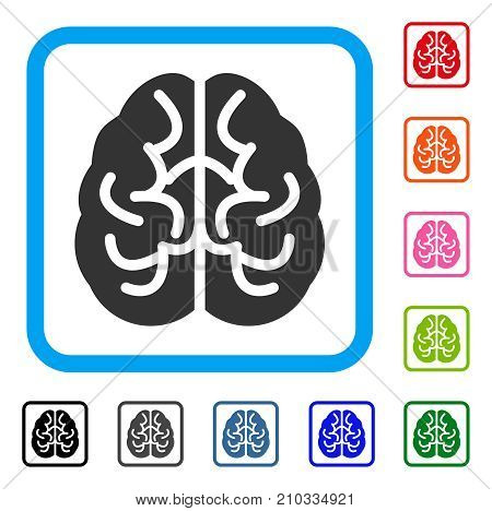 Brain icon. Flat gray iconic symbol inside a light blue rounded rectangular frame. Black, gray, green, blue, red, orange color versions of Brain vector. Designed for web and app interfaces.