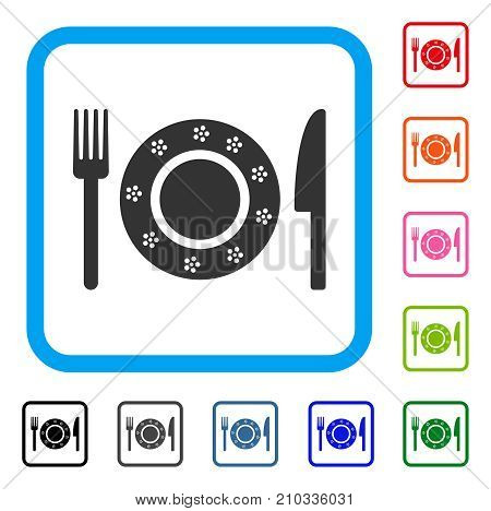 Restaurant Tableware icon. Flat grey pictogram symbol inside a light blue rounded rectangular frame. Black, gray, green, blue, red, orange color variants of Restaurant Tableware vector.