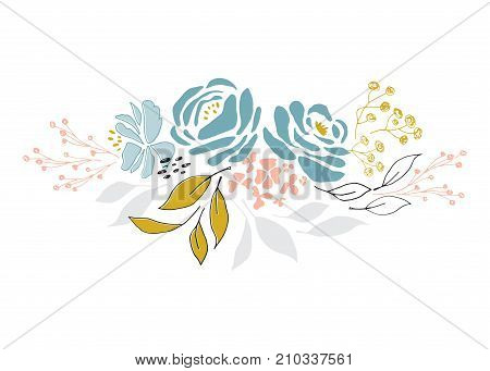 Hand drawn floral bouquet. Flowers and leaves in elegant arrangement. For greeting cards, weddings, stationery, surface design, scrapbooking. Cute hand drawn style. Part of a large floral collection.