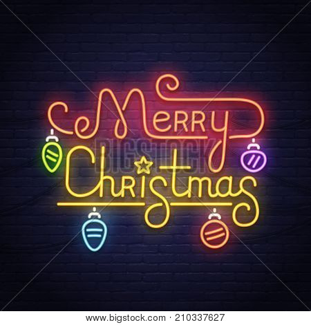 Happy Merry Christmas neon sign. Night party. Neon sign, bright signboard, light banner. Logo