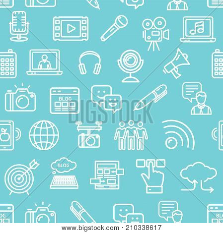 Blogging Pattern Background on a Blue Gadget Technology Communication Business Concept. Vector illustration of Blog Social Network Connection