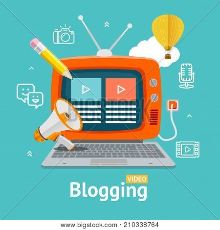 Blogging Concept with Television Display Screen Interface, Antenna and Keyboard on a Blue. Vector illustration of Blog Service Signs