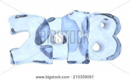 2018 New Year icy sign written with numbers made of clear blue ice Happy New Year 2018 winter icy symbol 3d illustration isolated on white