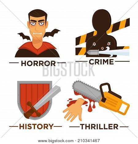 Vector flat isolated symbols set for cinema or channel movie genre tag. Movie genre icons.