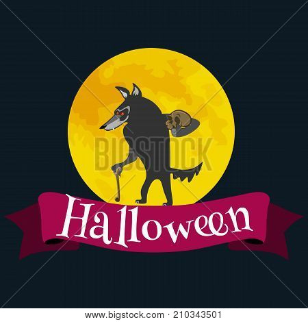 Werewolf on halloween with the full moon background, horror wolf at night vector invintation, autumn holliday illustration.