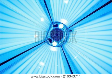 Solarium tanning bed. view of a bottom-up