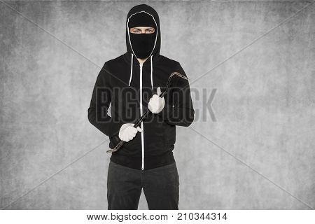 Thief Ready To Work, Gloves, Crowbar And Balaclava
