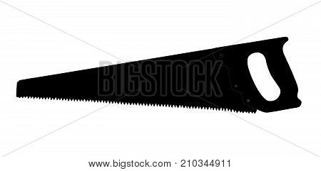 Painted wood hacksaw with a handle and denticles