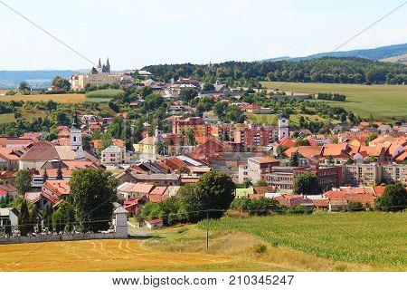 View on Spisske Podhradie town from Spis Castle, Presov region, Slovakia