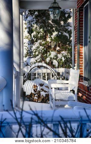 White Winter Porch